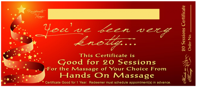 Massage Gift Certificate- Christmas Red- 20 Pack - Hands On Massage